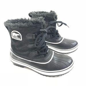 Sorel Tivoli II Fur Boot Waterproof Black & White